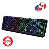 ⭐️KLIM Chroma Gaming Keyboard - Wired USB Backlit, Ergonomic, Quiet, Water Resistant with Led Rainbow Lighting - Black RGB PC Windows PS4 Mac Keyboards - Teclado Gamer Silent Keys with Light Color