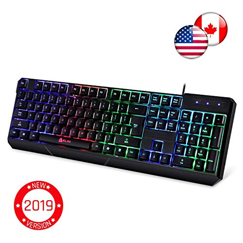 ⭐️KLIM Chroma Gaming Keyboard - Wired USB Backlit, Ergonomic, Quiet, Water Resistant with Led Rainbow Lighting - Black RGB PC Windows PS4 Mac Keyboards - Teclado Gamer Silent Keys with Light Color