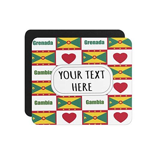 Neoprene Custom Grenada Flag Heart Pattern Mouse Pad Square Shape Office Mouse Mat