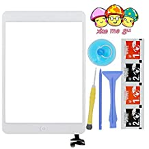 XIAO MO GU(TM) iPad Mini& iPad Mini 2nd Touch Screen Digitizer Complete Assembly with IC Chip & Home Button Replacement White(Adhesive + Tool Kit Included)