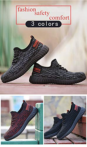 Men Fashion Safety Shoes Breathable Flying Woven Anti-smashing Steel Toe Caps Anti-piercing Fiber Mens Work Shoes by MEYZEZE (Image #6)
