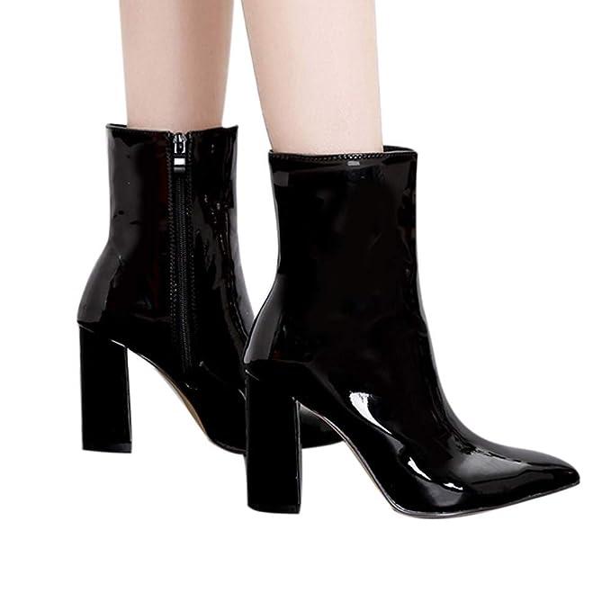 Longra ☂☂☛☛Botas Cortas de Cuero Brillante Grueso, Martin Boots Mujeres Tacones
