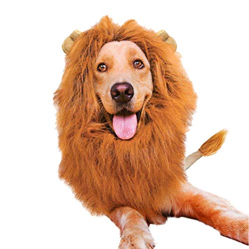 Vivifying Lion Mane Costume, Adjustable Lion Mane Wig with Ears and Tail for Medium and Large Dog Halloween Dress up -