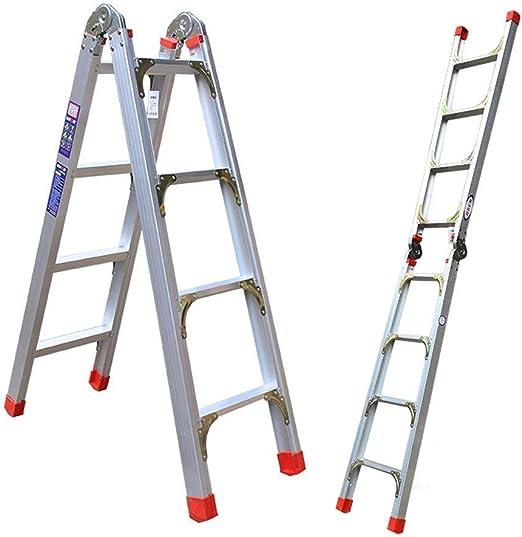 Escalera-Telescópica Escalera De Aleación De Aluminio De Doble Uso Escalera Plegable Escalera Escalera Ascendente Engrosamiento Escala De Ingeniería Multi-Propósito Escalas Escalera,Silver,High190cm: Amazon.es: Hogar