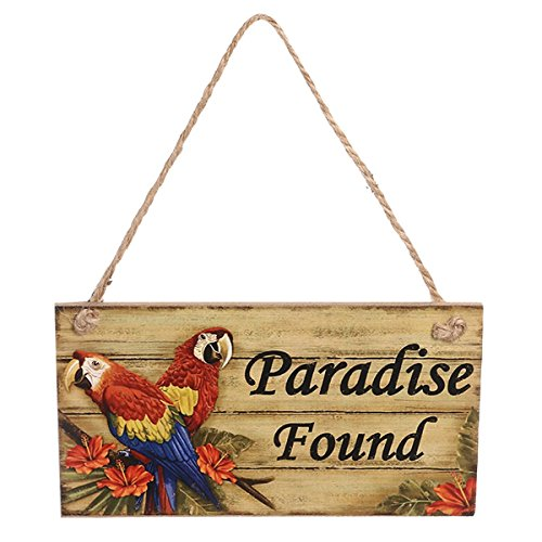 (BinaryABC Luau Hawaii Hanging Sign Wall Sign Wooden Signs Beach Themed Party Paradise Found Hanging Sign)