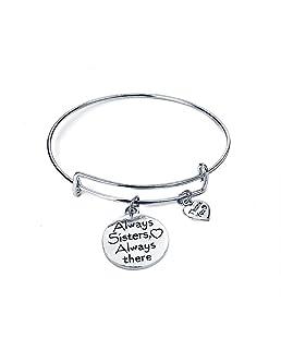 Danigrefinb sempre Sister always there lettera braccialetto dell' amicizia, espandibile gioielli–argento e Lega, colore: Silver, cod. 1081680-Danigrefinb-uk