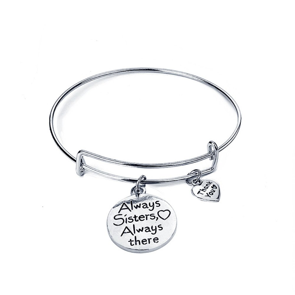 Wintefei Intimate Always Sister Always There Letter Friendship Bracelet Expandable Bangle Jewelry - Silver