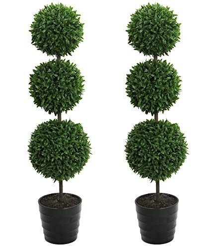 Admired By Nature Tabletop English Artificial Boxwood, Twin Pack (Topiary 3 Ball)