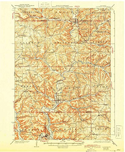 YellowMaps La Farge WI topo map, 1:62500 Scale, 15 X 15 Minute, Historical, 1926, Updated 1944, 20.19 x 16.61 in - Paper ()