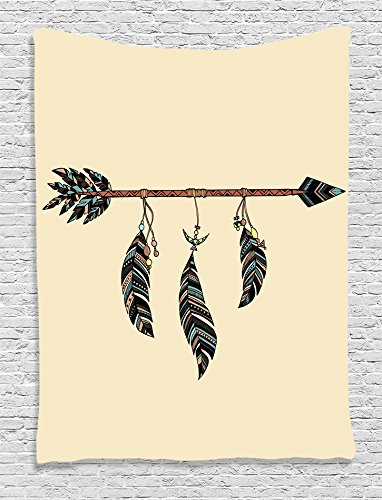 Ambesonne Collection Ethnical Feathers Decorative