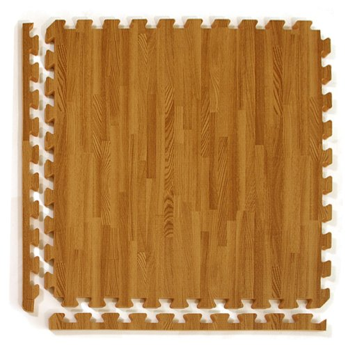Greatmats Wood Grain Reversible Standard Wood/Tan Foam Floor Tiles 24 x 24 x 1/2 inch, 25 Pack (Best Wood Look Tile)