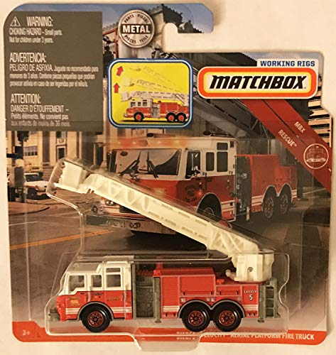 Matchbox Working Rigs Red Pierce Velocity Aerial Paltform Fire Truck 1:64 Scale Collectible Die Cast Metal Toy Car Model