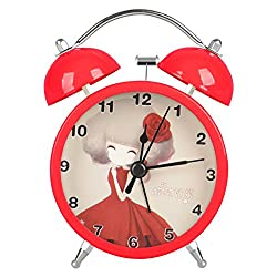 Lovely Classical Retro Twin Bell Mute Silent Quart Movement Non Ticking Sweep Second Hand Bedside Desk Study Analog Alarm Clock for Students with Night and Loud Alarm HA20 (Red)