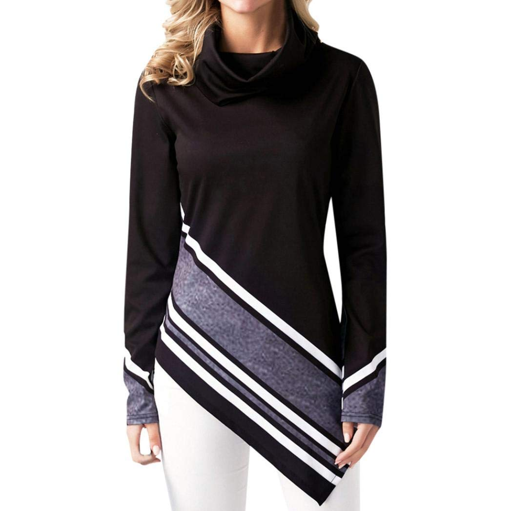 Clearance 2018 Shirts for Women Jiayit Women's Casual High Collar Shirt Striped Printed Irregular Hem Long Sleeve Sweatshirt Top Blouse (S, Black)