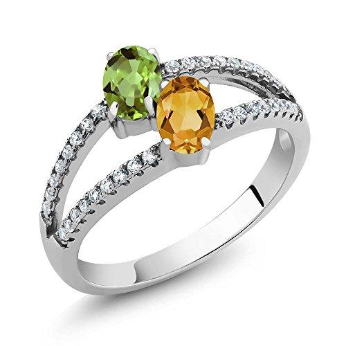 1.31 Ct Oval Green Peridot Yellow Citrine Two Stone 925 Sterling Silver (Sterling Silver Peridot Citrine Ring)