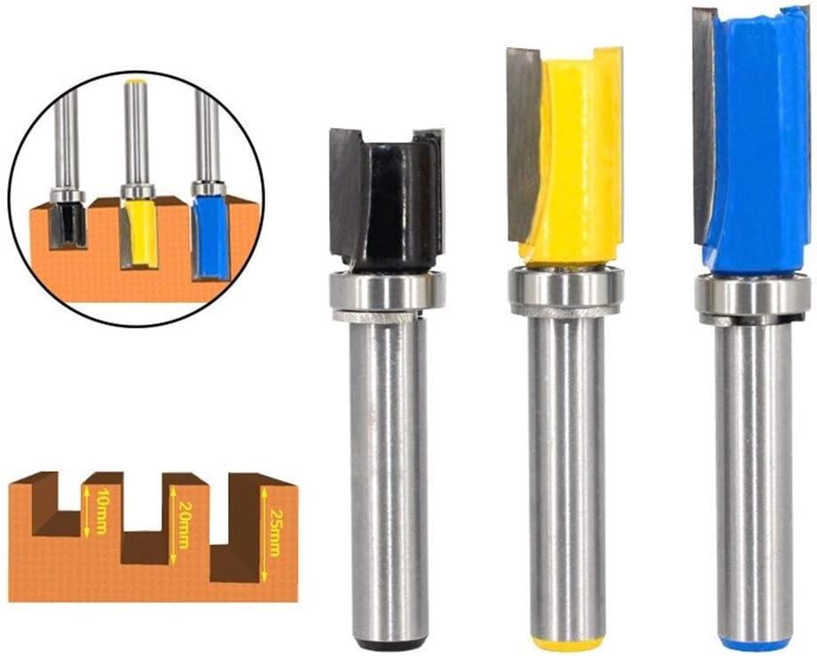 3pcs 8mm Schaft Flush Trim Router Bit-Muster Bit Oben Unten Lager 1//2 Blade Vorlage Holz Fr/äser Carpenter Size : 3pcs