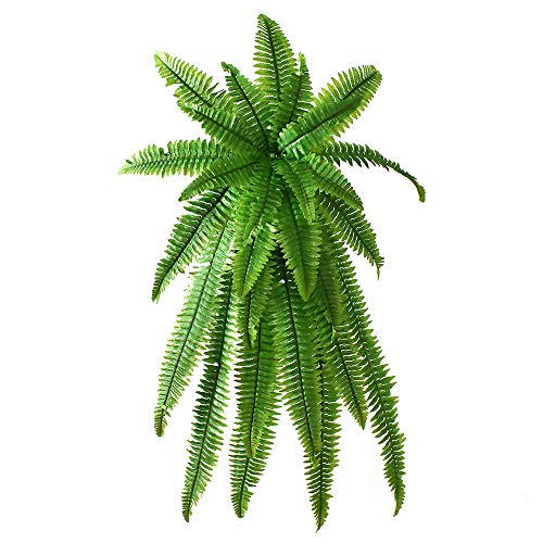 (40Inch Artificial Boston Fern Hanging Vines Plant Fake Greenery Outdside Hanging Basket Planter Floral Wedding Garland Decor)