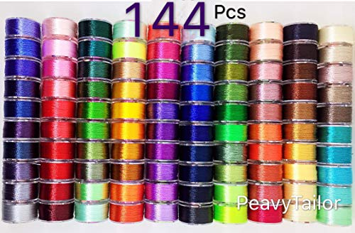 PeavyTailor 144 Colors Prewound Embroidery Bobbins Polyester Embroidery Machine Thread for Brother Babylock Janome Singer Pfaff Bernina Embroidery and Sewing Machines