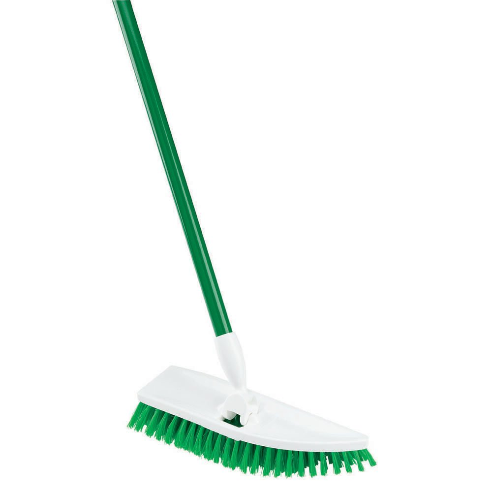 Libman Commercial 122 No Knees Floor Scrub, Steel Handle, 11'' Wide, Green and White (Pack of 4)