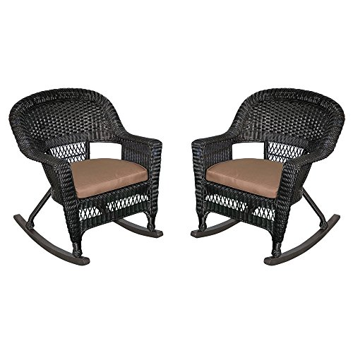Jeco W00207R-D_2-FS007 Rocker Wicker Chair with Brown Cushion, Set of 2, Black