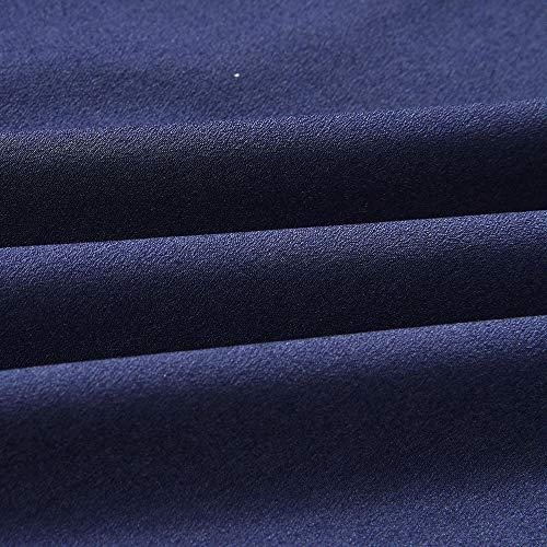 Lungo Manica Casual Forti Lunga Shirt Vestito con Longra Blu T Elegante Camicia Top Camicetta Camicia Blouse Taglie Asimmetrico Tunica Scuro Donna a Felpa Girocollo Camicie Sciolta Balze da xqHwX4UA