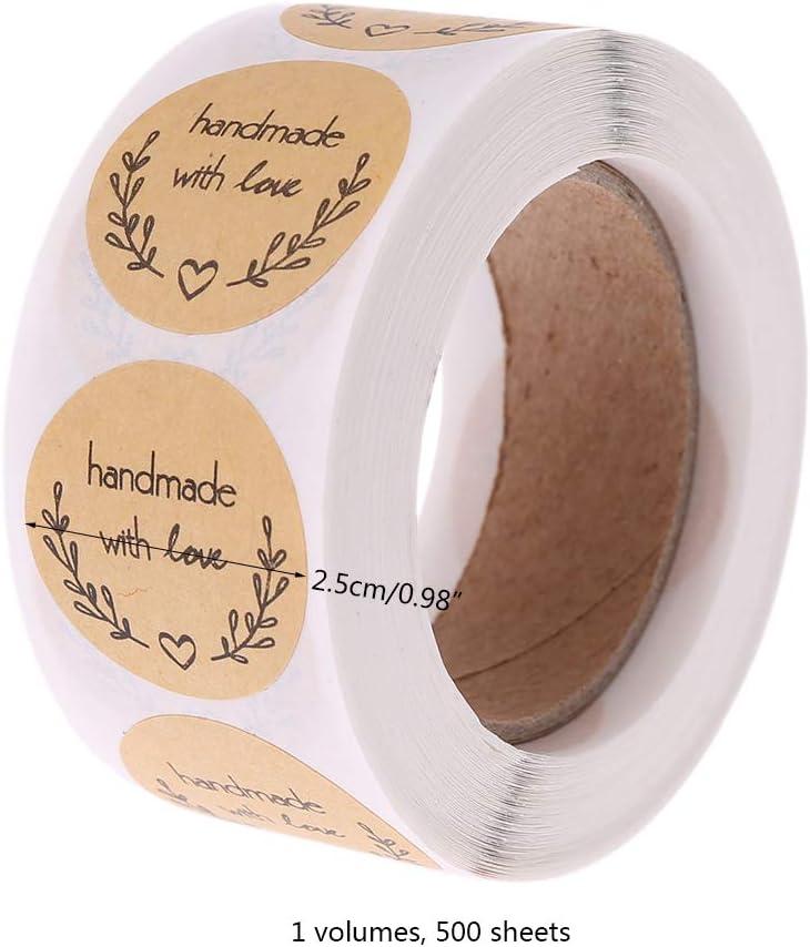 redondas Kraft Handmade with Stickers Labels Roll para Sello Scrapbooking Regalo Bolsa Recuerdo Boda Fiesta Aniversario Cumplea/ños 500PCS Pegatinas Etiqueta Adhesiva Pegatina Rollo