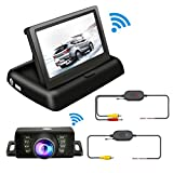 TVIRD Backup Camera And Monitor Wireless Car Rear View System Night Vision IR Reversing Rear View Camera +Foldable 4.3'' Color HD LCD Monitor Parking Kit For Truck Van Caravan Trailers Camper