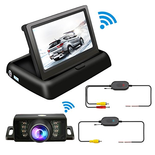 TVIRD Backup Camera And Monitor Wireless Car Rear View System Night Vision IR Reversing Rear View Camera +Foldable 4.3'' Color HD LCD Monitor Parking