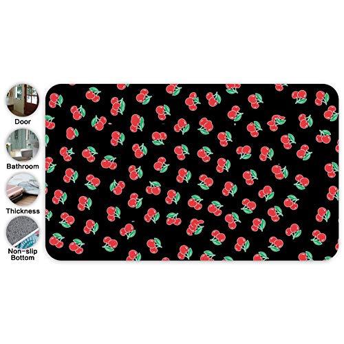 (Cute Cerise Cherry Entrance Door Mat Square Doormat Non Slip Toilet Floor Mats Bath Rugs 18