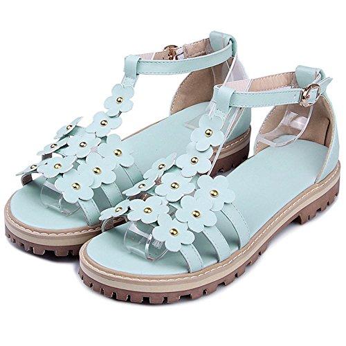 FANIMILA Mujer Moda Correa En T Punta Abierta Sandalias Chicas Colegio Dulce Zapatos With Flor Light Azul