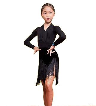 SMACO Falda de Baile Latino para niños Vestido de Rendimiento de ...