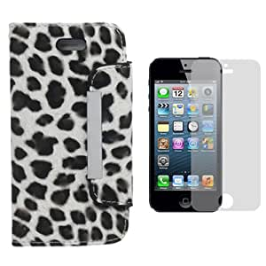 Evecase® Black/ White Leopard Leather Book Folio Wallet Case for Apple iPhone 5 5G + Clear LCD Screen Protector for Apple iPhone 5