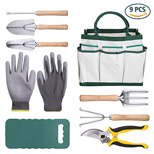 DRILLPRO 9 Piece Garden Tool Set, Gardening Steel Tools All-In-One Tool Bag, Durable Folding Stool, Stainless Steel Hand Tools Kit (Ultimate Garden Tool)