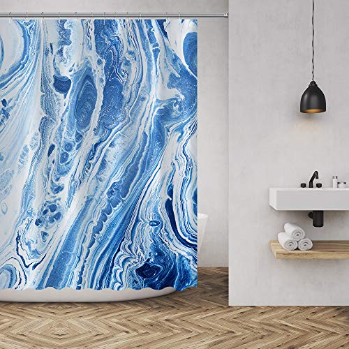 Shower Curtain Marble Ink Texture Luxurious Graphic Print Polyester Fabric Bathroom Decor Sets with Hooks 72 x72 Inches, Royal Blue