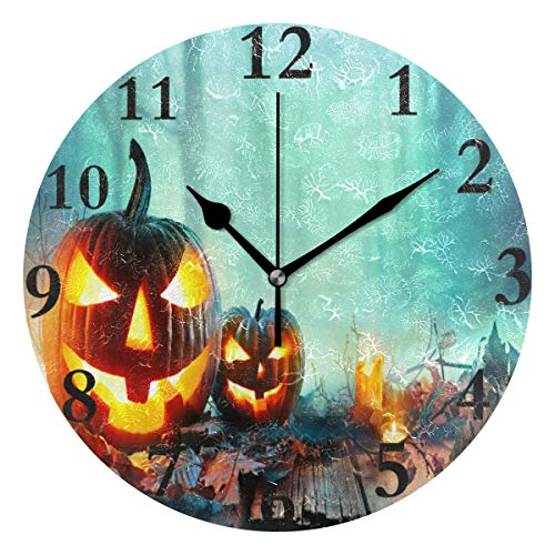 Ladninag Wall Clock Halloween in North County San Diego Silent Non Ticking Decorative Round Digital Clocks Indoor Outdoor Kitchen Bedroom Living Room