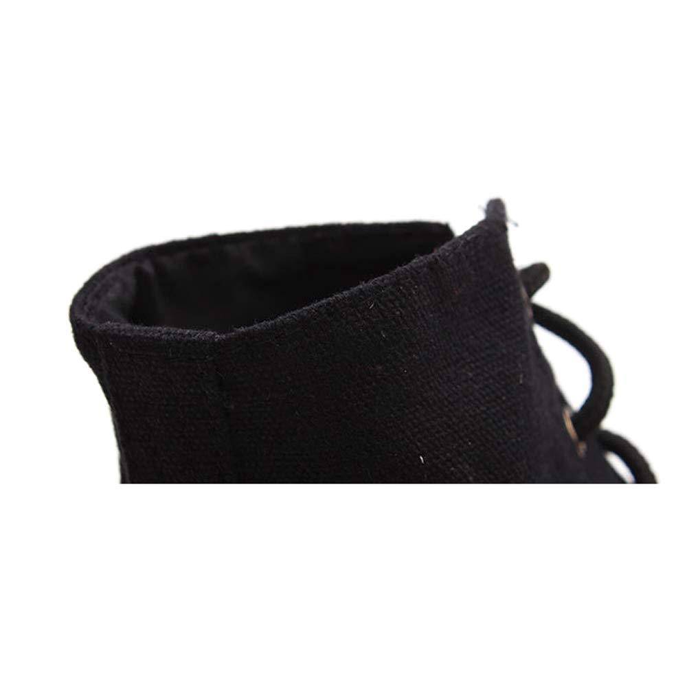 Toile /à Lacets Noir Bottes de Danse Jazz avec Arbre Haute Doux et des Semelles de Chaussures en cro/ûte de Cuir pour Filles gar/çons Femmes Hommes