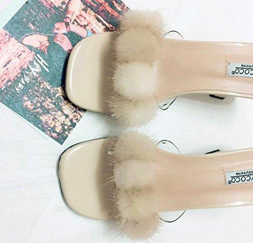 PBXP Pantofole popolari di cerimonia nuziale Decorazione artificiale della piuma Metà degli orecchini centrali del piede delle donne femminili del piede femminile Prime Day Size EU 35-39 , apricot , 3