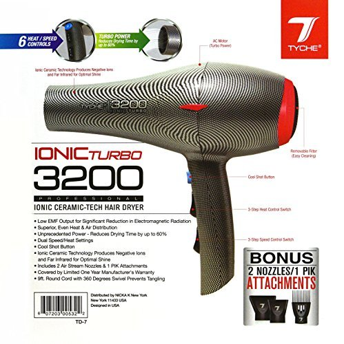 Tyche Turbo 3200 Professional Ionic Ceramic Tech Hair Dryer (1 Year Warranty) Dries Hair Fast, Negative Ions, Infrared, Hair Shine, Electromagnetic, Radiation, Heat & Air Distribution, Superor Power, (3000 Watt Dryer)