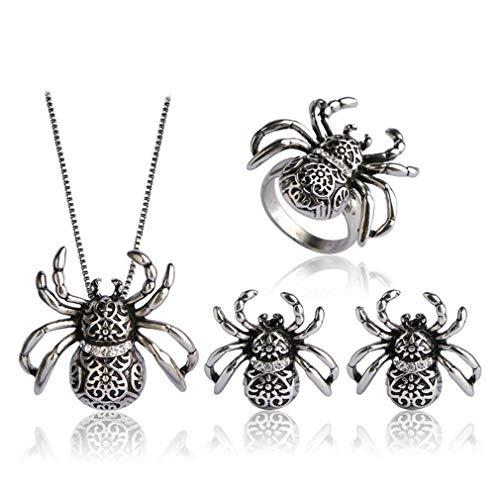 Vintage Spider Shape Insect Pendant Necklace Earrings Ring Jewelry Sets For Lady Women Man Bijoux French Hooks Earrings antique silver color 8