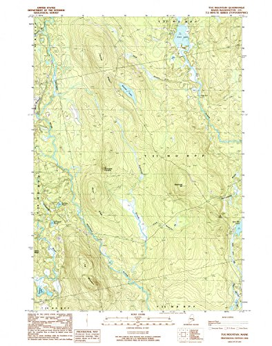 Tug Mountain ME topo map, 1:24000 scale, 7.5 X 7.5 Minute, Historical, 1990, updated 1990, 26.8 x 21.2 IN - - Bowles West