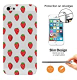 c01113 - Cool Red Strawberries Wallpaper Wimbledon Summer Fruit Design iphone SE 2016 / iphone 5 5S CASE Ultra Slim Light Plastic 0.3MM All Edges Protection Case Cover-Clear
