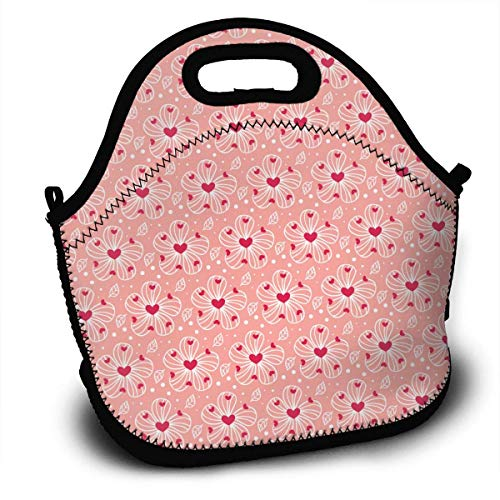 Flowers Valentines Day Insulated Neoprene Lunch Bag Removable Shoulder Strap-Reusable Thermal Thick Lunch Tote/Lunch Box/Cooler Bag For Women,Teens,Girls,Kids,Baby,Adults