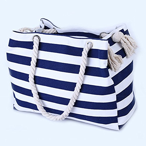Zhhlaixing Handbag Zip Stripe Women amp; Bag Large Tote for Up Extra Reusable Beach Printed Bag White Canvas Blue Ladies rqvBrnx