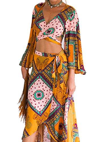 Wrap Skirt Set (Stylish Autumn 2 Pieces Vintage Printed Boho Dress Sleeved Criss Cross Crop Top and Wrap Swing Skirt Set)