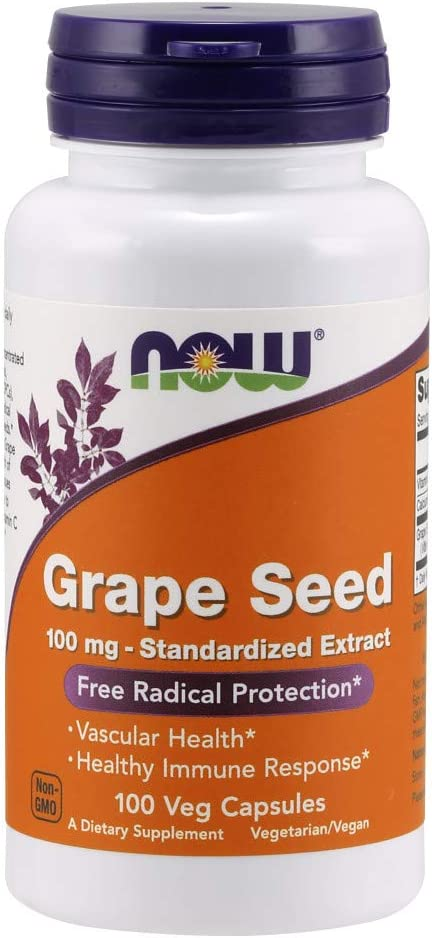 Now Supplements, Grape Seed 100 mg - Standardized Extract, Highly Concentrated Extract with a Minimum of 90% Polyphenols, with Vitamin C, 100 Veg Capsules
