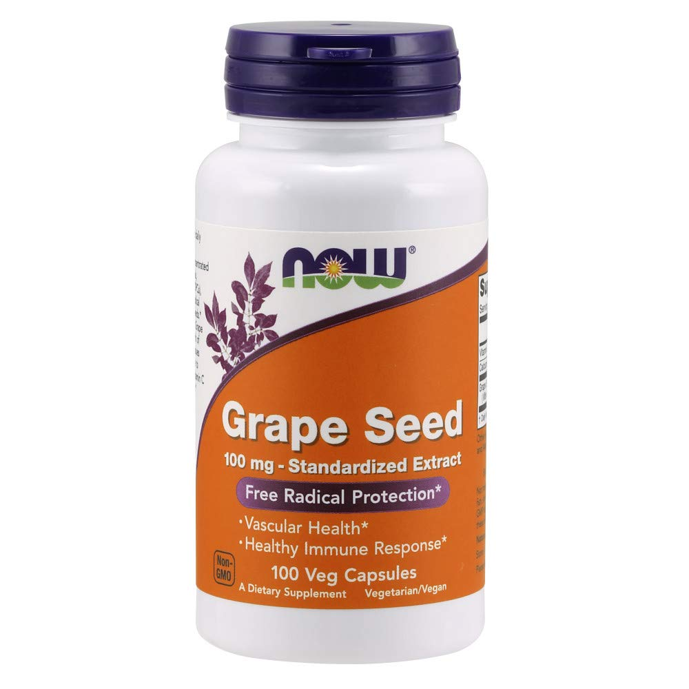 Now Supplements, Grape Seed 100 mg - Standardized Extract, Highly Concentrated Extract with a Minimum of 90% Polyphenols, with Vitamin C, 100 Veg Capsules by NOW Foods