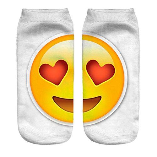 Women Favorite Love Heart Eyes Phone Emoticon Best-Loved Cuteness Ankle Socks