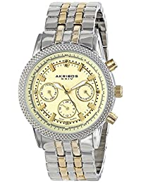 Akribos XXIV Women's AK722TTG Lady Diamond Analog Display Swiss Quartz Two Tone Watch