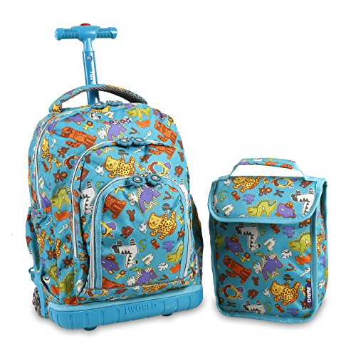 J World New York Boys' Lollipop Rolling Lunch Kid's Backpack with Self-Magnetic Sparkling Wheel and'Free'Lunch Bag, Aniphabets, One Size