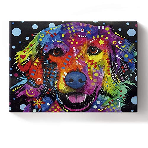 Golden Retriever Colorful Animals Print Canvas Wall Art Decor Oil Painting - Home Office Decorative Stretched Gallery Canvas Wrap Print Ready to Hang From